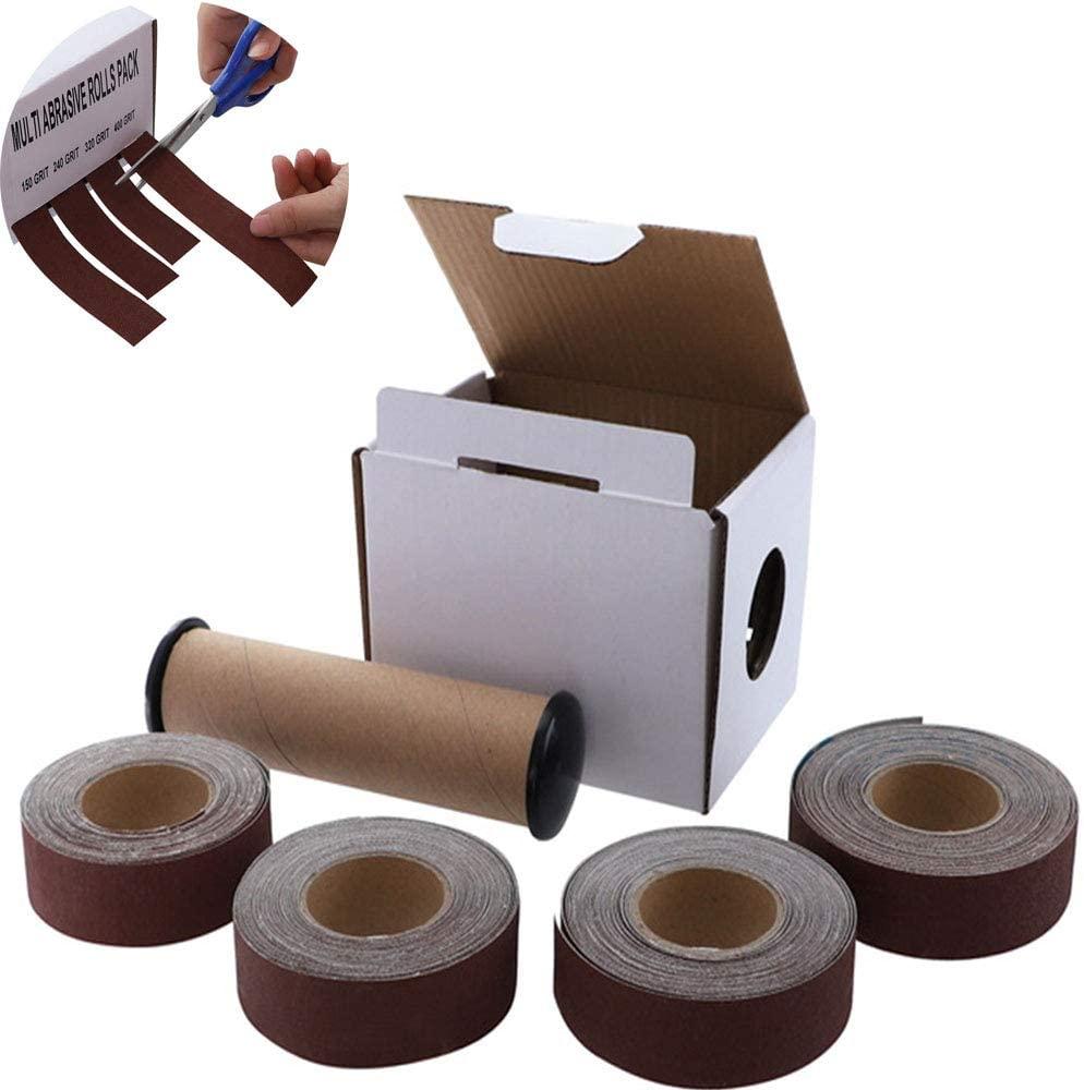JHYM 4 Pcs Sanding Belt Roll Set, 1 Inch X 20 Ft 150/240/320/400 Grit Abrasive Sandpaper Rolls, Ready-to-Cut Ready-to-Wrap - for Metal Aluminum Copper Hardwood