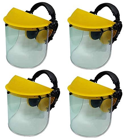 4 x Jasper Browguard Face Shield Clear Visor with Ear Muffs - ANSI Z87.1 CE EN1731