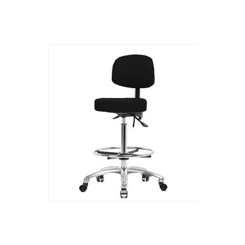 Thomas VHBST-CR-T0-CF-CC-c8540 High Bench Height Stool with Back and Chrome Base, No Tilt, Chrome Foot Ring, Chrome Caster, Vinyl