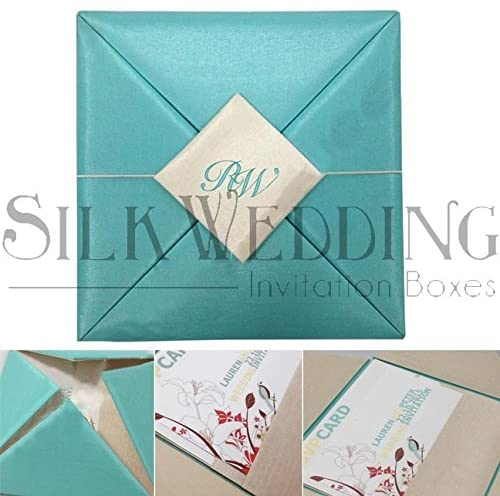 Scuba Blue Wedding Invitation With Monogrammed Embroidery Detail