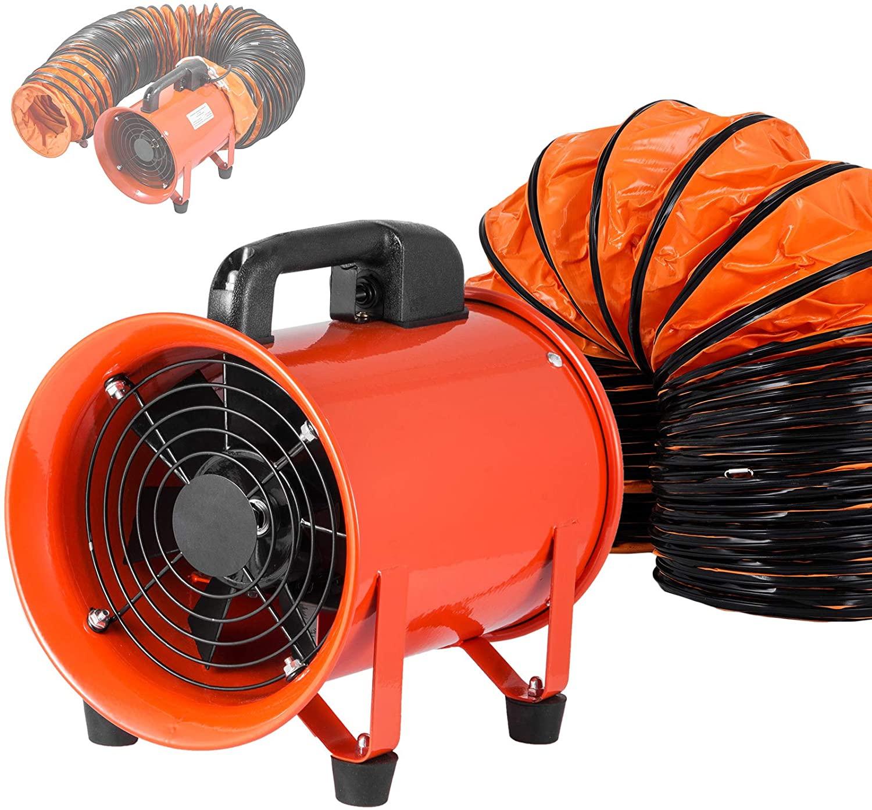 OrangeA Utility Blower 8 Inch 3300 RPM Portable Ventilator High Velocity Utility Blower Fan Exhaust Axial Hose Fan with 10M Vinyl Hose (8 Inch 10M)