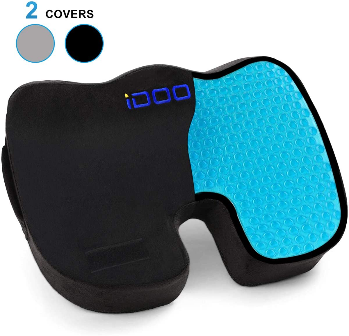 iDOO Cooling Gel Seat Cushion for Office Chair, 100% Memory Foam Gel Seat Cushion, Coccyx Orthopedic Pad for Tailbone Pain, Kitchens Chair Car Seat Cushion, Sciatica & Back Pain Relief - Black