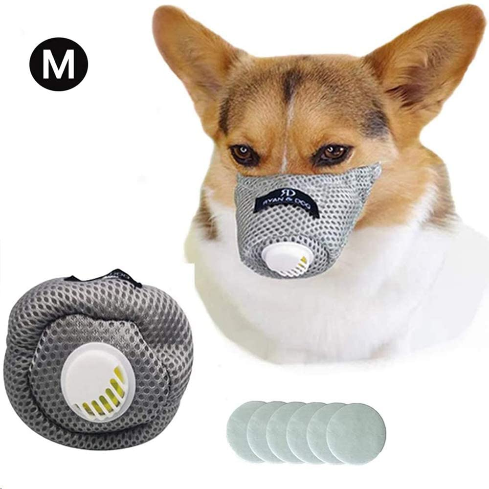 Linkinghome Dog Respirator Muzzle, Dog Protective Muzzle Adjustable Pet Mouth Muzzle Soft Breathable Cotton Dog Muzzle Anti Dust