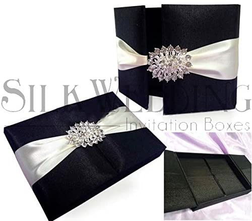 Exotic Black Gate Fold Wedding Invitation Box with Stunning Rhinestone Crystal Brooch