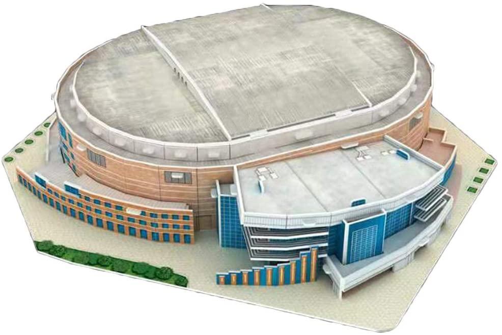 minansostey 3D Puzzle Jigsaw World Basketball Court Stadium Playground DIY Assembled Building Model Toys