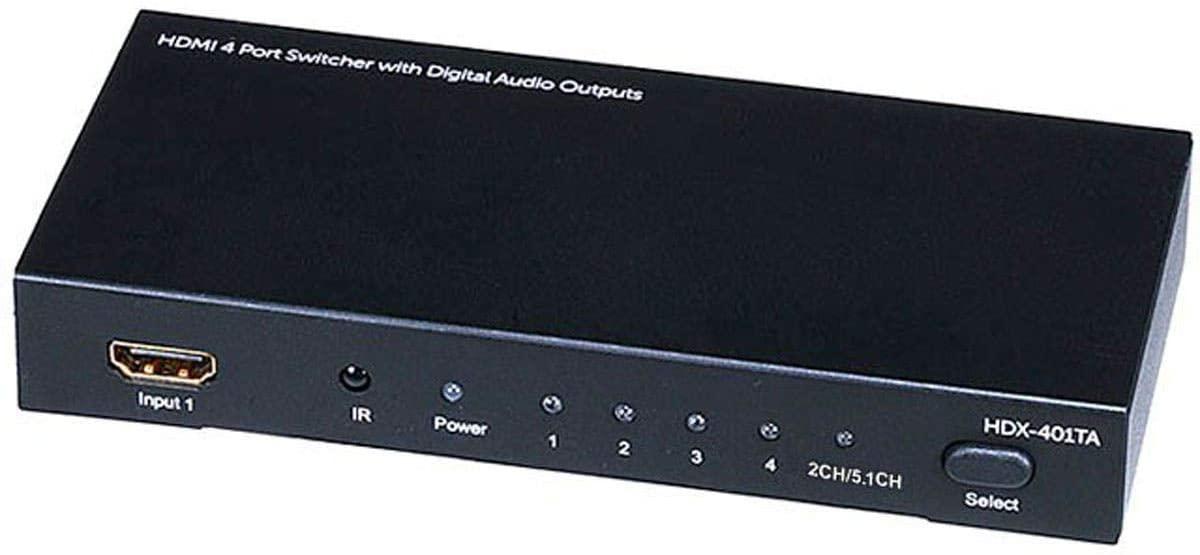 Monoprice Blackbird 4x1 HDMI 1.4 Switch HDCP 1.4 with Toslink and Analog Audio Extractor, 1080p@60Hz