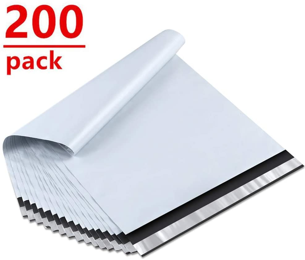 UCGOU 10x13 Inch 200-Pack White Poly Mailers Premium Shipping Envelopes Mailers Bags Self Sealed Business Shipping Mailer Bags with Self Adhesive Strip Waterproof and Tear-Proof Postal Bags