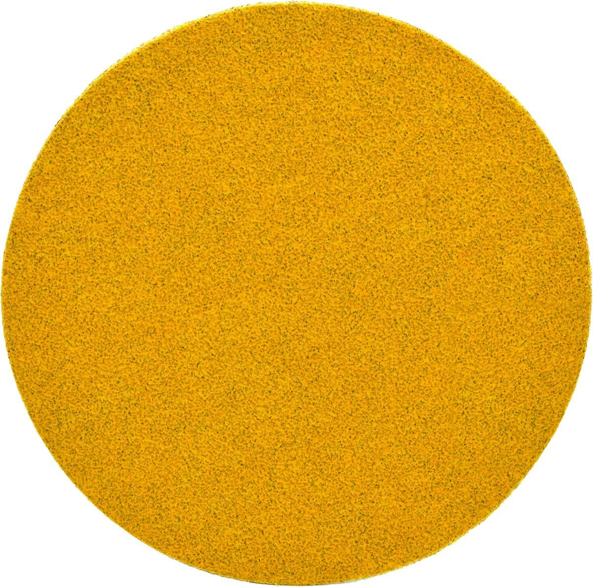 Superior Abrasives 39981 SHUR-KUT 5in Aluminum Oxide Gold Paper PSA Disc, 80 Grit (Pack of 100)