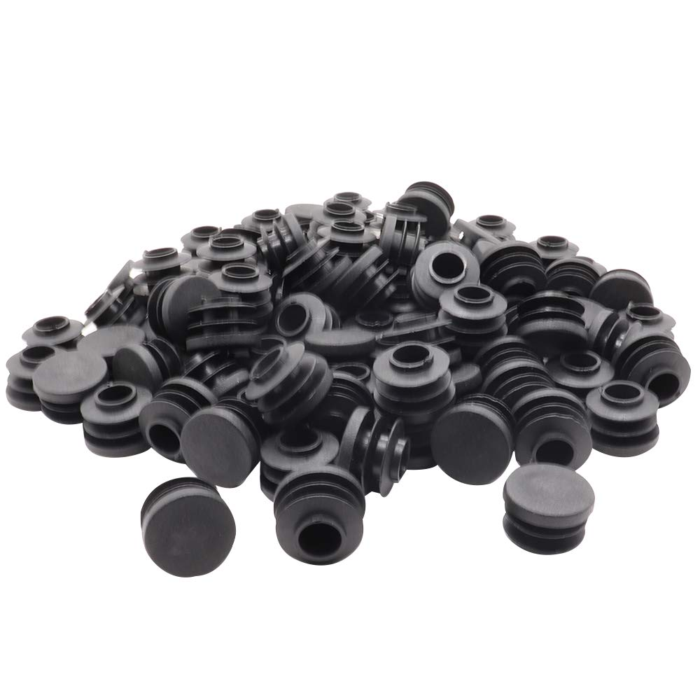 Round Tubing Plug Cap Toolkitworld 100 Pcs Outer Diameter 25/32 Inch Black Plastic Plugs Chair Glide Insert Finishing Plug