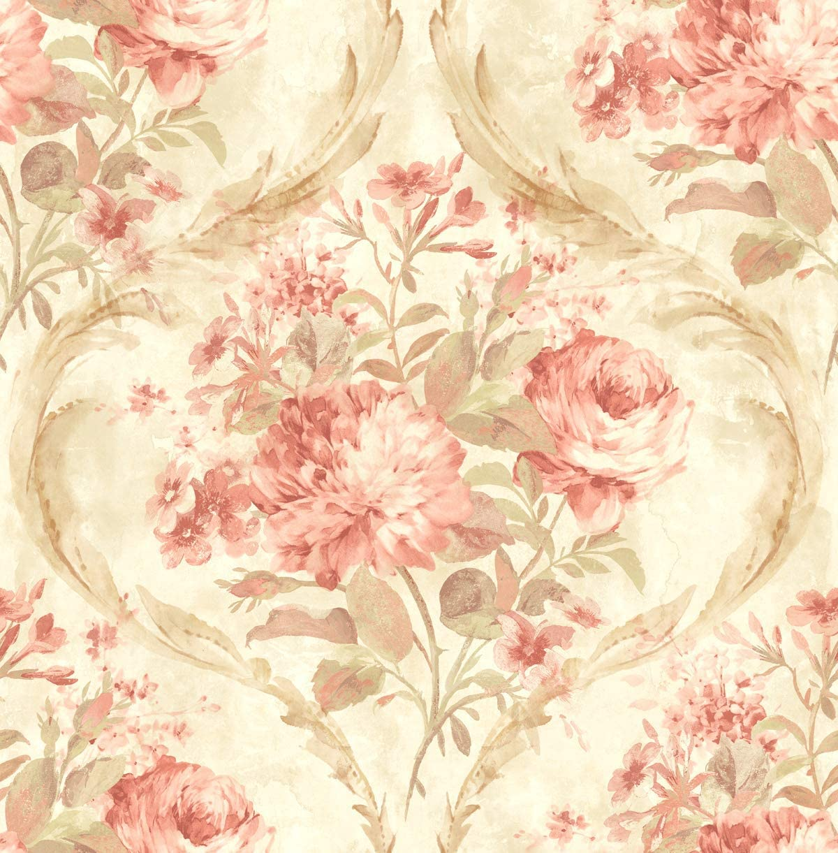 Pink Floral Wallpaper Chinoiserie Wallpaper Rose Wallpaper Vintage Floral Wallpaper Gold Pink Wallpaper Rose Gold Wallpaper
