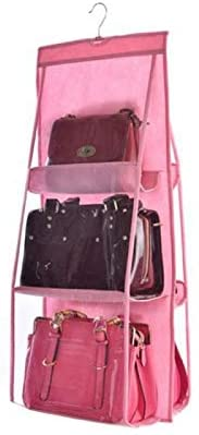 weizhang 6 Pocket Foldable Hanging Bag Storage Organizer Transparent Storage Bag for Closet Shoes Door Wall Sundries Pouch Pink