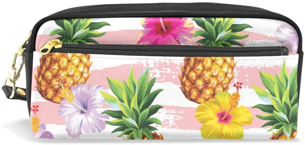 A Seed Pen Pencil Holder Bag Case Pouch Pineapple Floral Flower Tropical Pink for Boys Girls