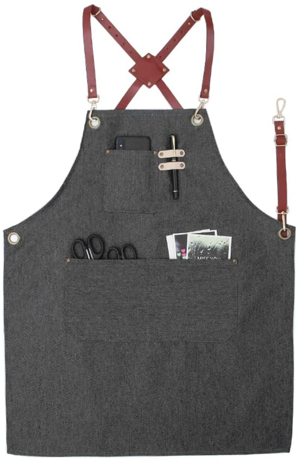 Denim Apron with 3 Pockets,Adjustable Leather Strap Unisex Cross Back Kitchen Apron,Cafe Bakery Shop Barber Shop Bar Waiter Work Bib Apron Cowboy Black A 60x80cm(23.6x31.5inch)
