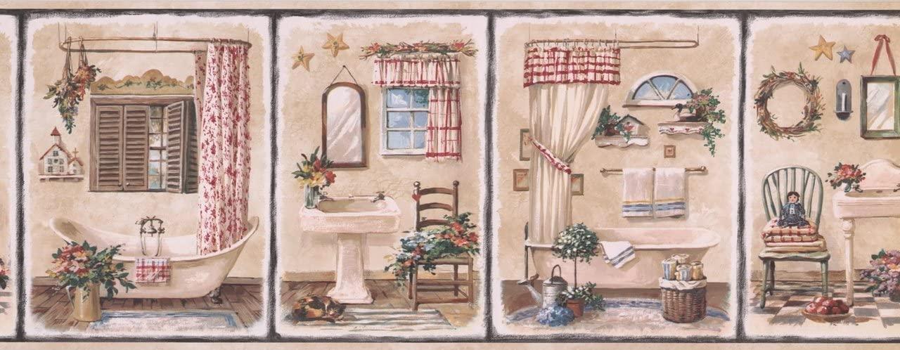 Vintage Bathroom Black Squares Beige Retro BSB7112B Wallpaper Border