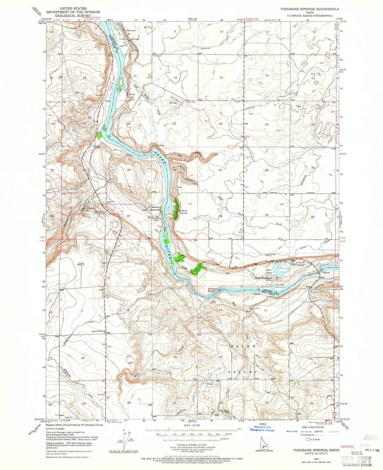 Map Print - Thousand Springs, Idaho (1949), 1:24000 Scale - 24