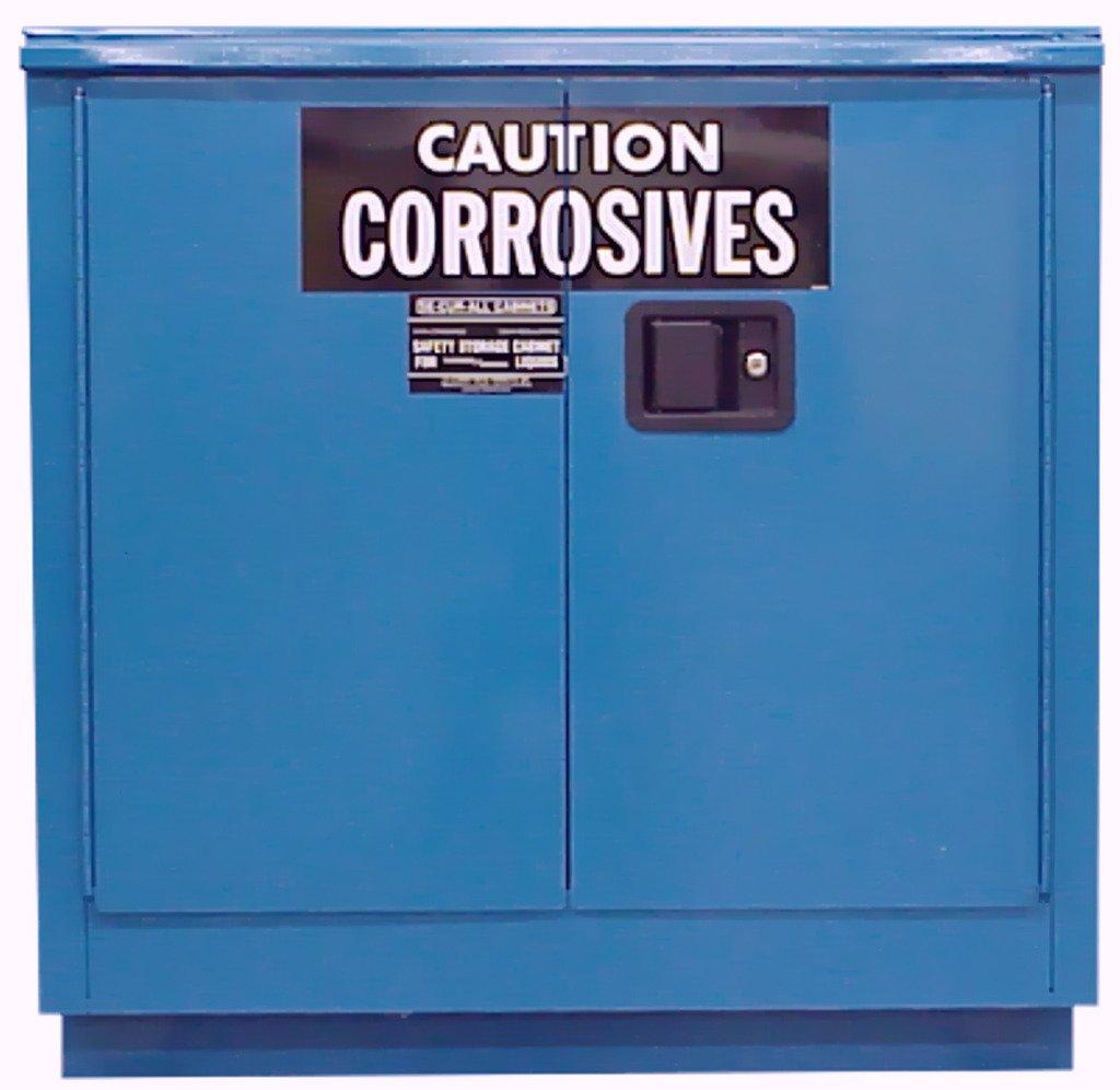 SECURALL C224 Acid/Corrosive Storage Cabinet, 24 Gallon Cap, 18-Gauge Steel, 36 x 35 x 22 in, 2 Self-Close Self-Latch Sliding Doors, FM Approved, OSHA/NFPA Comp, 1 Adj. Shelf, 15 YR Warranty - Blue
