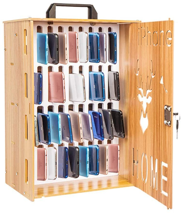 Trycooling 36 Slots Wooden Cell Phones Storage Cabinet with The Charging Hole for Office School,Wall-Mounted with Locked (Cherry Wood)
