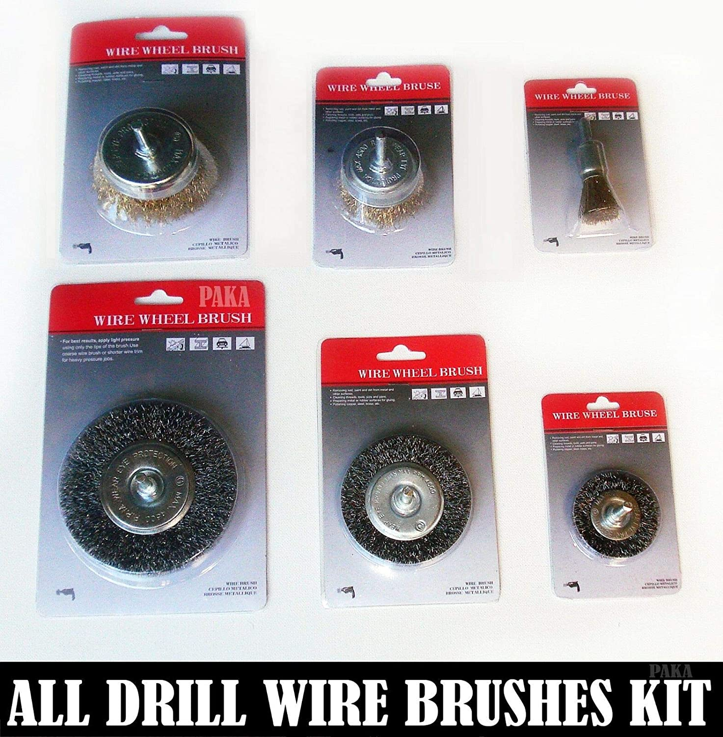 All Drill Wire Wheel & Cup Brush kit (6 pcs) by PAKA TOOLS
