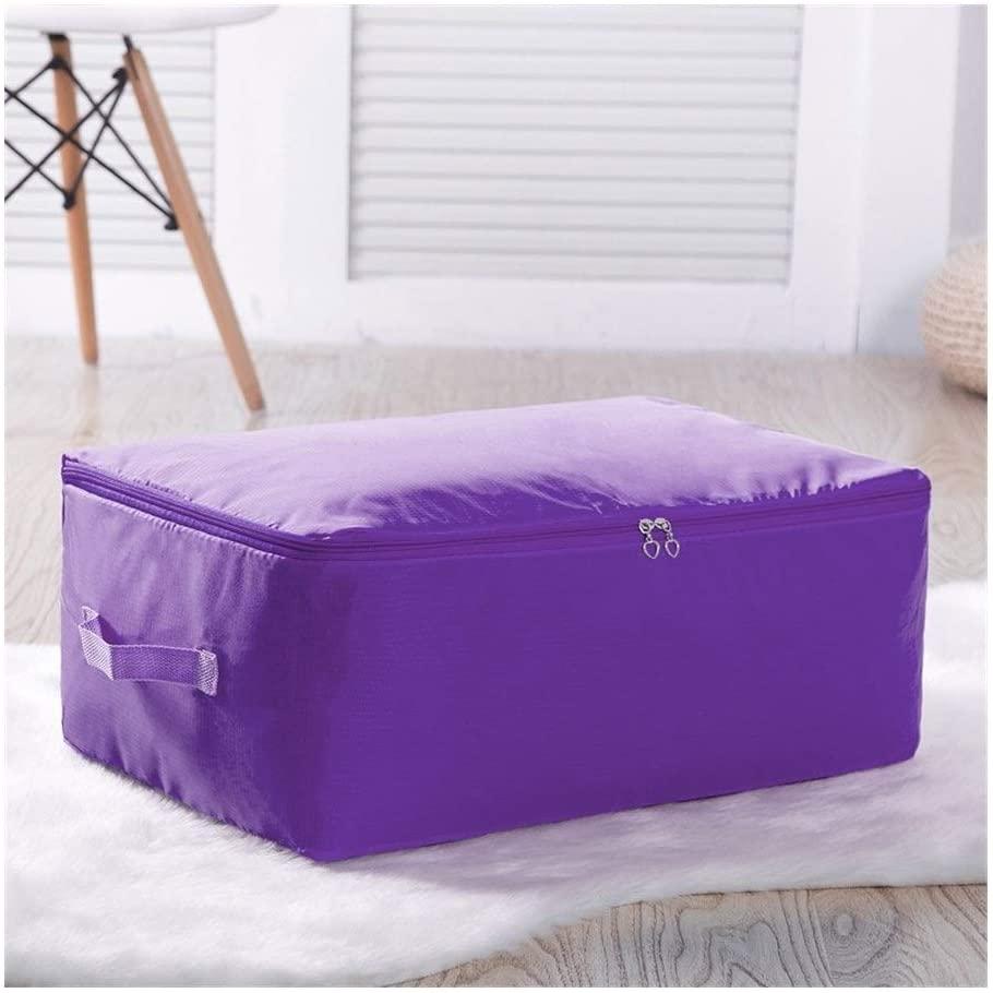 WPF JX 1Pcs Home Cloth Quilt Storage Bag High Capacity Oxford Clothing Organizer Container Case Folding Closet Tidy Case M L XL XXL (Color : Purple, Size : M About 55x35x20cm)