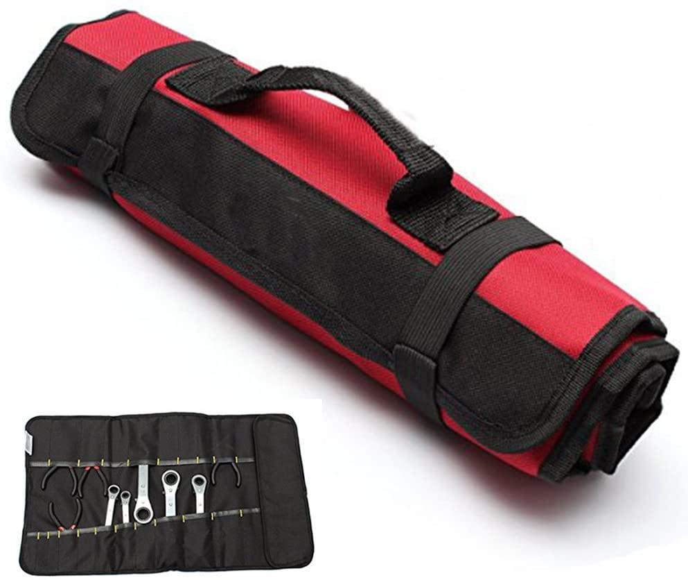 Yosoo Multi-Purpose 22-Pocket Reel Rolling Tool Bag Plier Screwdriver Spanner Carry Case Pouch Bag (Red)