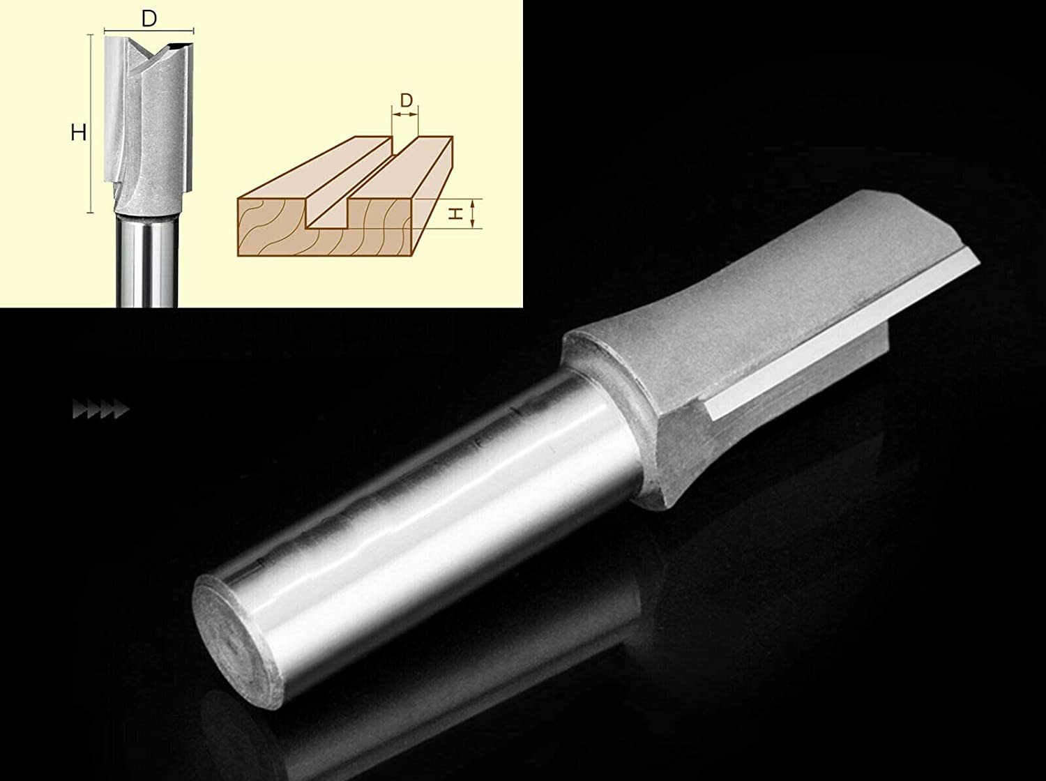 Extra Long 1/2 x 1/2 x 1 1/2 Double Flute Straight Router Bit Tool