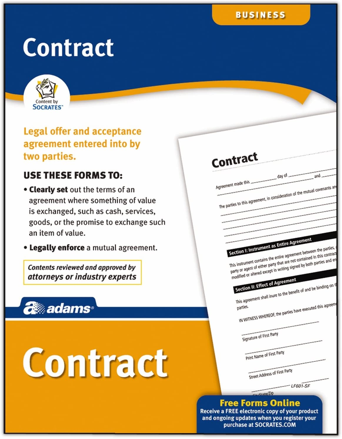 Adams Contract Form, 8.5 x 11 Inch, White (LF601)