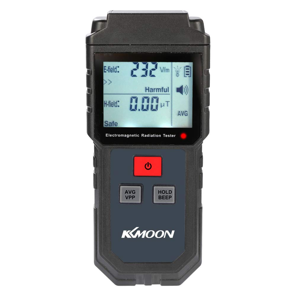 EMF Meter, KKmoon Portable Handheld Digital LCD Electromagnetic Radiation Tester Electric Field Magnetic Field Dosimeter Detector with Sound and Light Alarm (5Hz-3500MHz)