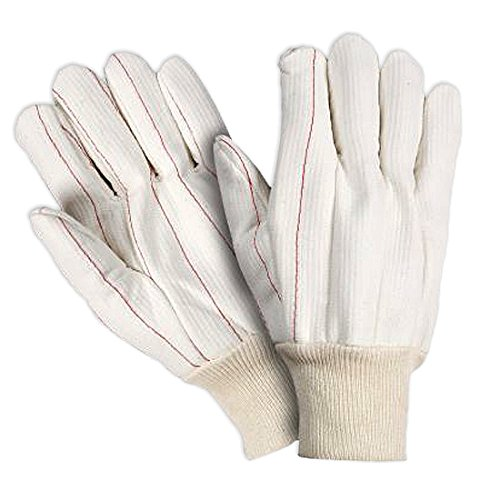 Southern Gloves UCHF183JJ Corded Poly/Cotton Outer Oil Field Gloves, Heavy Weight, Non-Woven Liner, Natural Knit Wrist, Jumbo Size, White (Pack of 12)