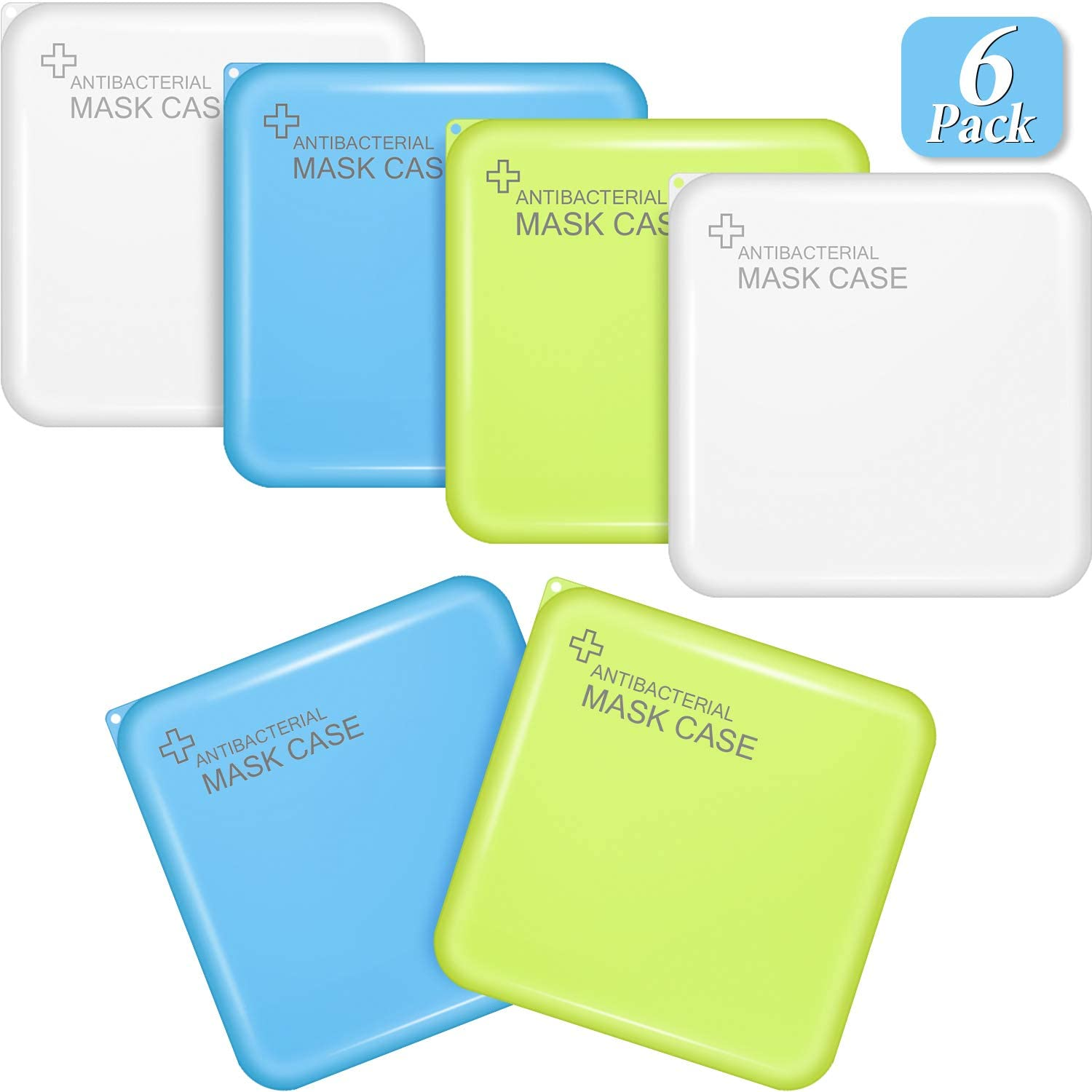 6 Pieces Plastic Face Cover Storage Case Portable Face Cover Storage Box Reusable Face Covering Organizer Dustproof Mouth Cover Keeper Folder Pollution Prevention Storage Clip Containers