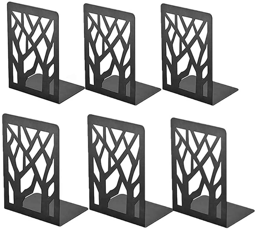 huikeer Metal Book Ends, Book Divider Decorative Holder, Bookend Supports Book Shelf Holder Non Skid Heavy Duty Book Stoppers, Book Stand for Shelves Bookshelf Office School Library