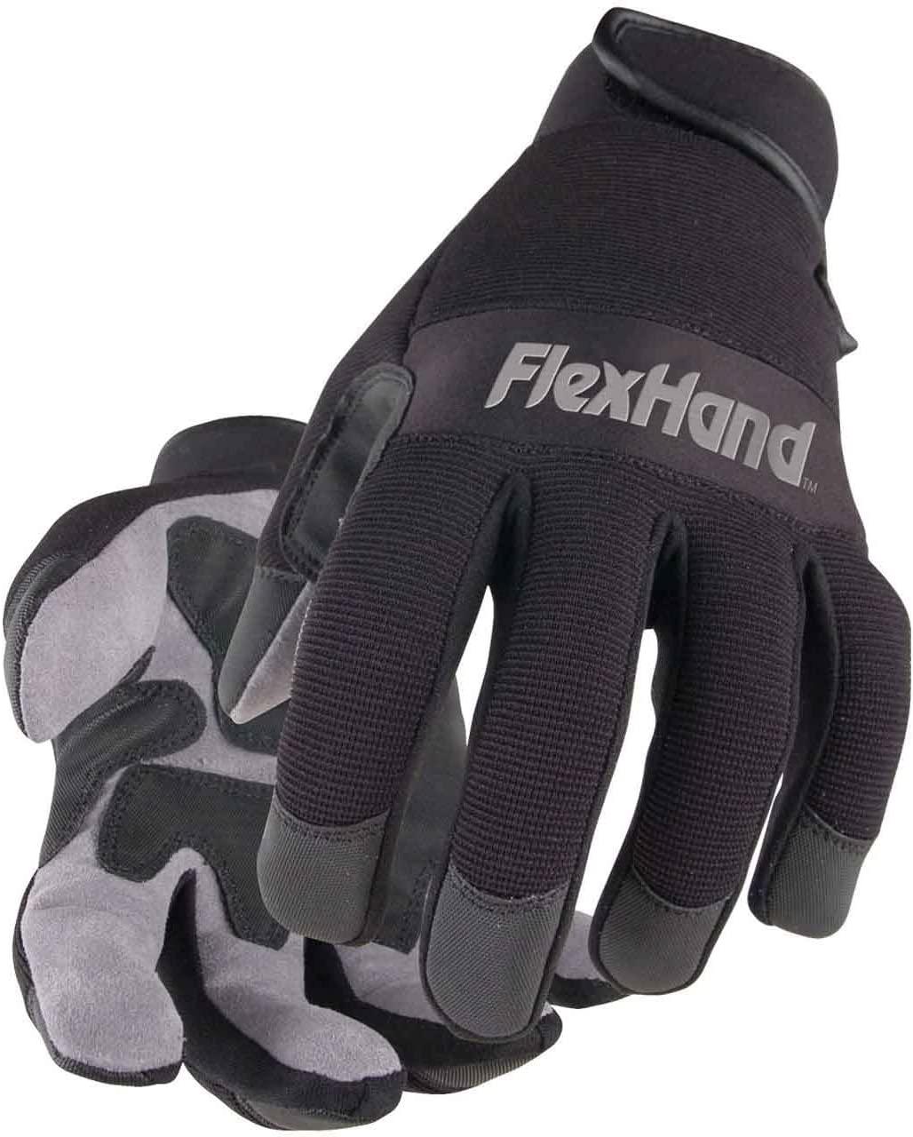 Black Stallion 19FX-BLK FlexHand Reinforced Mechanics Gloves, Large