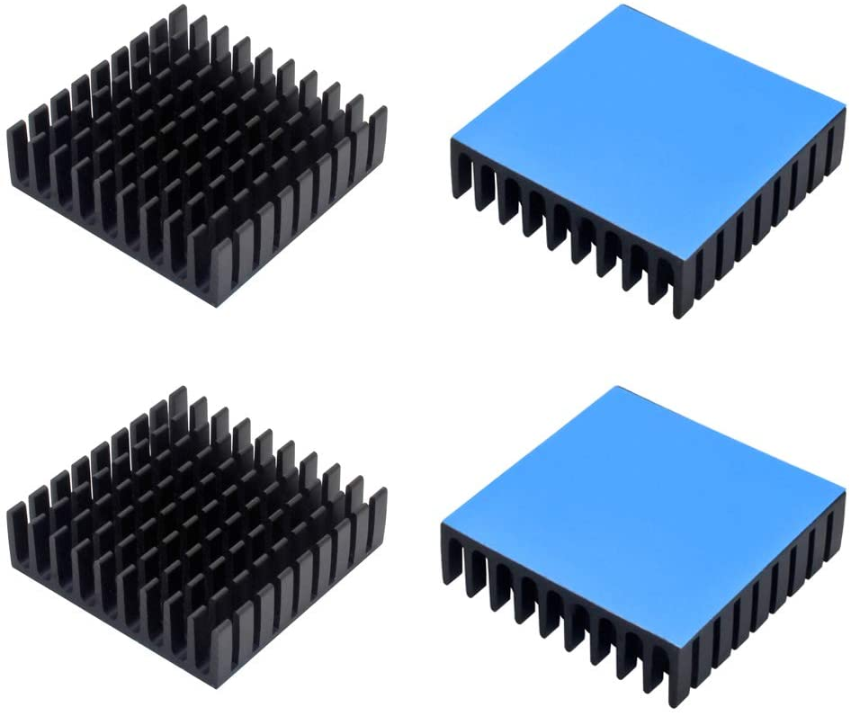 4pcs Aluminum Heatsink 35x35x10mm / 1.38x1.38x0.39inches for Electronic Chip Cooling with Thermal Conductive Double Sided Tape