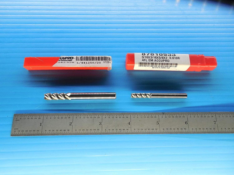 ACCUPRO 87810933 3/16 Dia. and 86642998 1/4 Dia. 4 FL Carbide END Mills Tools