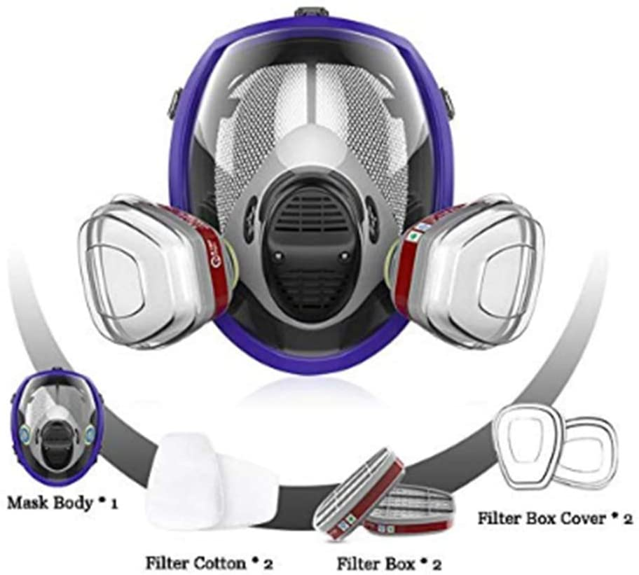 ZQDL Anti-Fog Respirator Full Face Gas Mask Protection, Industrial Gas Masks with Activated Carbon Filters, Widely Used Anti Dust Comprehensive Tool