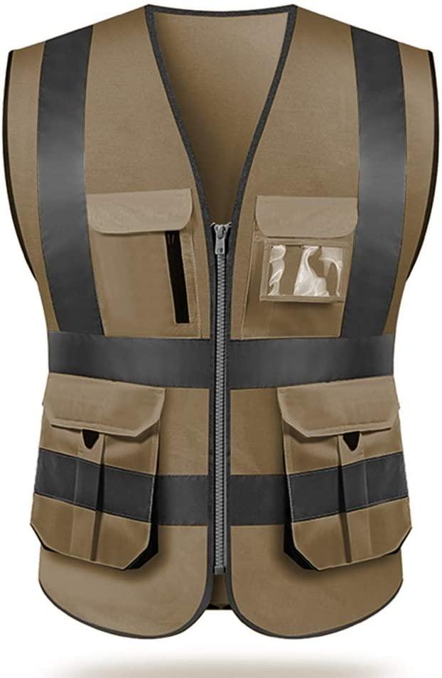 Safety Vest High visibility reflective safety vest work reflective vest multi pockets workwear safety waistcoat men safety vest (M, Brown)