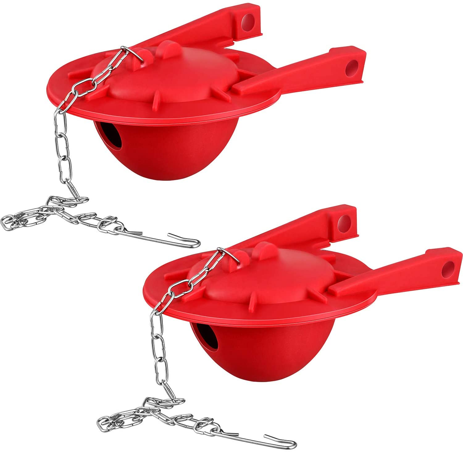 2 Pieces Toilet Flapper Replacement Water Saving Toilet Flapper with Stainless Steel Chain, 3 Inch