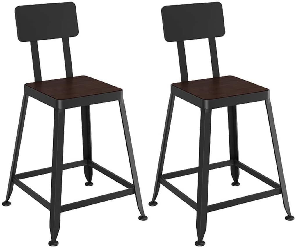 KMMK Desk Chairs,Breakfast Bar Stools, Pub, Counter, Kitchen and Home Barstools, with Footrest, with Backrest, Retro,Set of 2