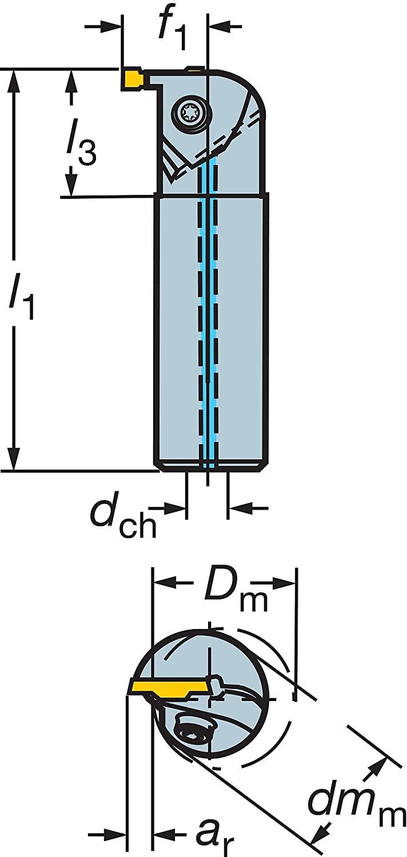 Sandvik Coromant RAG151.32-16M-20 Steel T-Max Q-Cut Boring Bar for Grooving Holder, 16 mm Shank Diameter, 0.197
