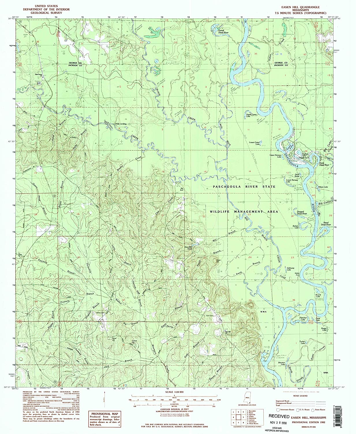 Map Print - Easen Hill, Mississippi (1982), 1:24000 Scale - 24