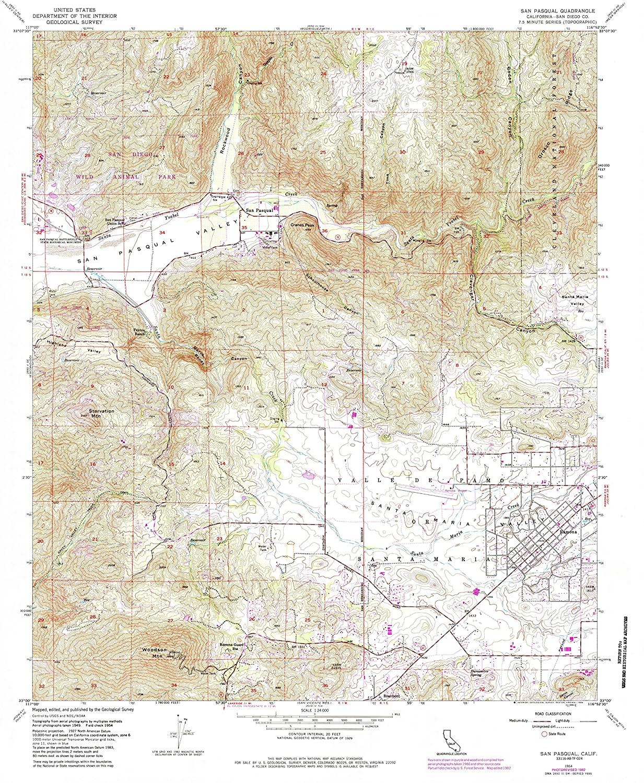 Map Print - San Pasqual, California (1954), 1:24000 Scale - 24