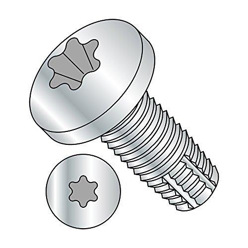 Steel Thread Cutting Screw, Zinc Plated Finish, Pan Head, Star Drive, Type F, #4-40 Thread Size, 3/8