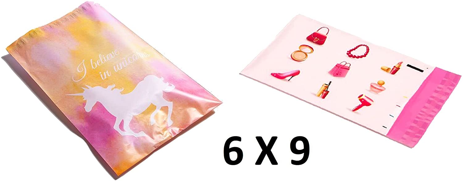 ( 200 Pcs ) 6X9 Designer Poly Mailers Assorted Combo : Pink Unicorn and Makeup; Printed Self Sealing Shipping Poly Envelopes Bag 9X6