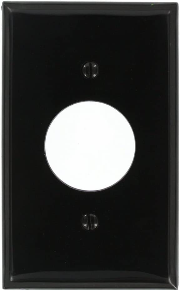 Leviton 80704-E 1-Gang Single 1.406-Inch Hole Device Receptacle Wallplate, Black
