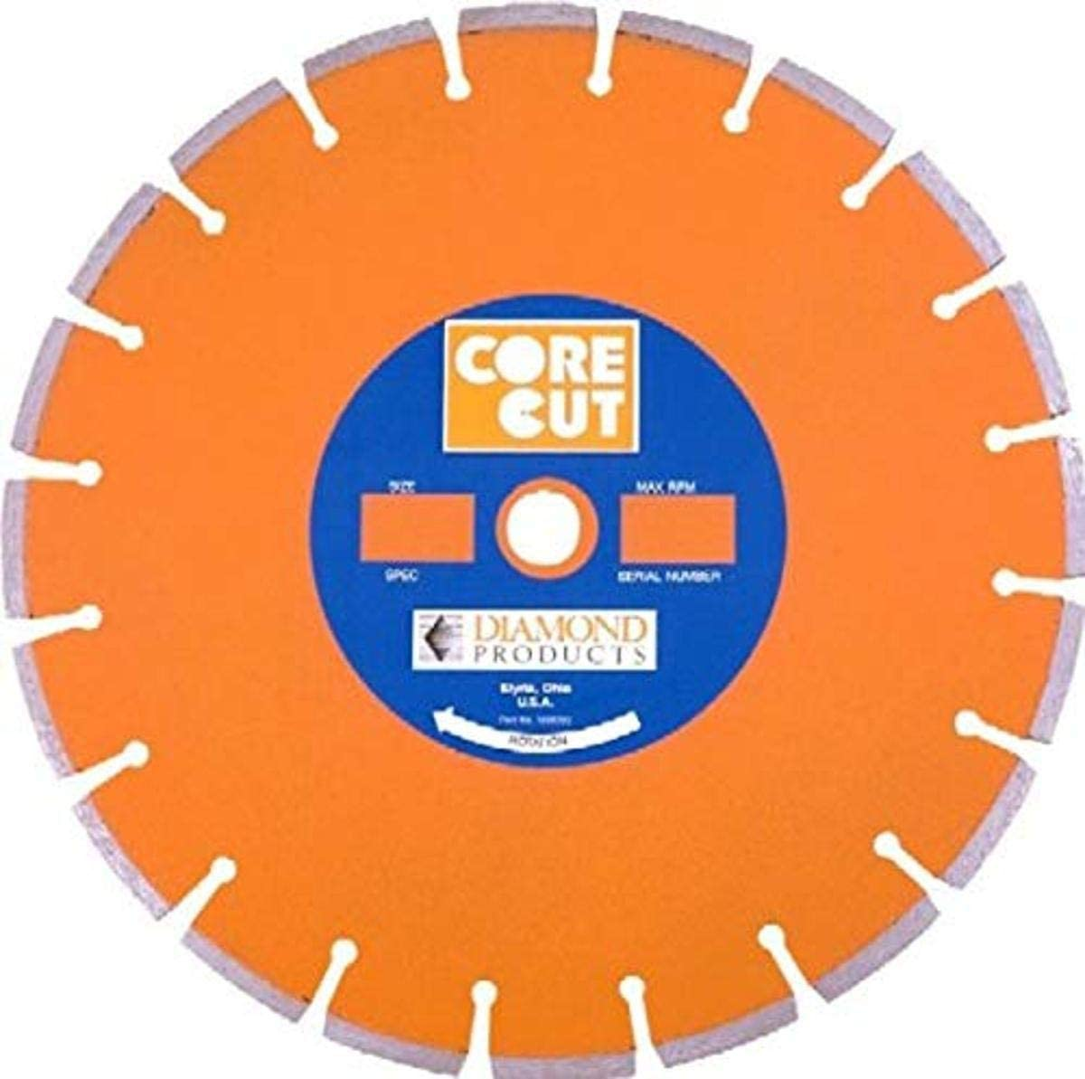 Diamond Products Core Cut 11884 18-Inch by 0.125 by 1-Inch Heavy Duty Orange Dry or Wet Masonry Blade