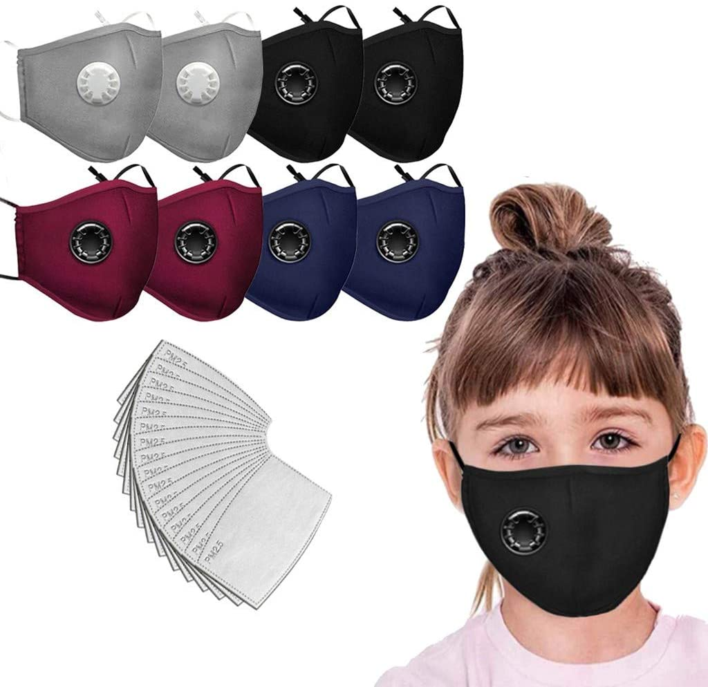 Children Face M.a.s.k. with Breathing Valve+ Replacement Filter, Washable Reusable (8PCS+16Filter)