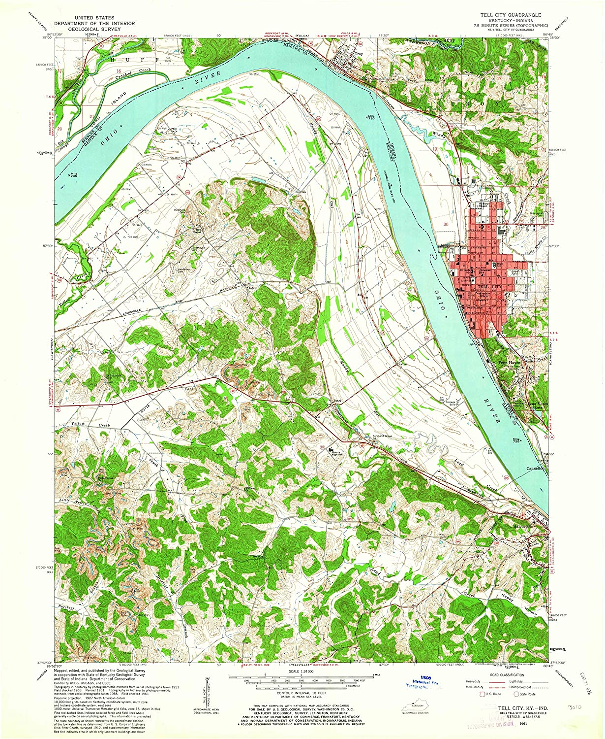 Map Print - Tell City, Indiana (1961), 1:24000 Scale - 24