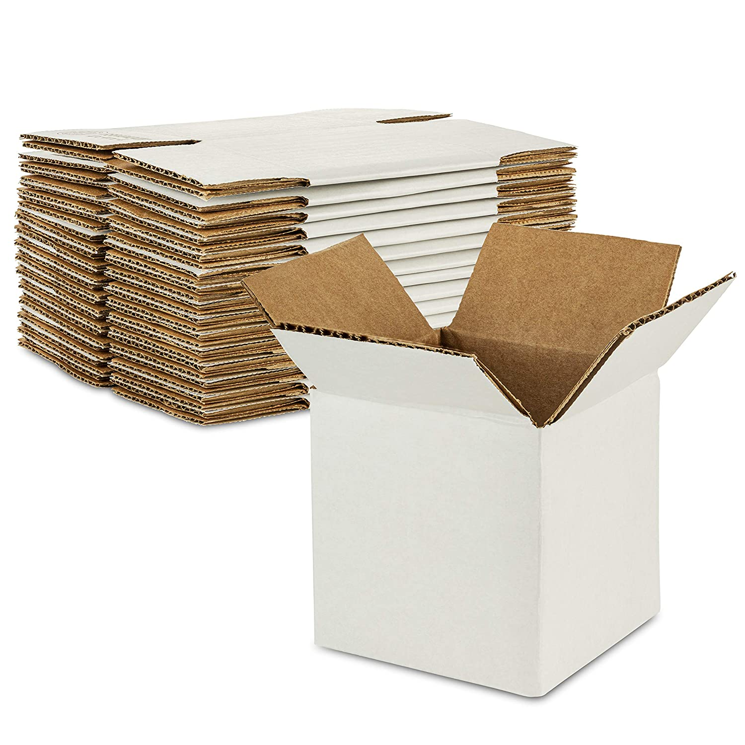 Sturdy White Corrugated Cardboard Boxes for Shipping and Mailing Size 4