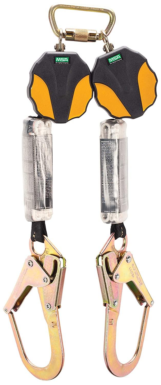 MSA 10157860 Workman Mini Twin-Leg ANSI-Certified Personal Fall Limiter with 36CL Rebar Steel Snap Hook, 6-Feet