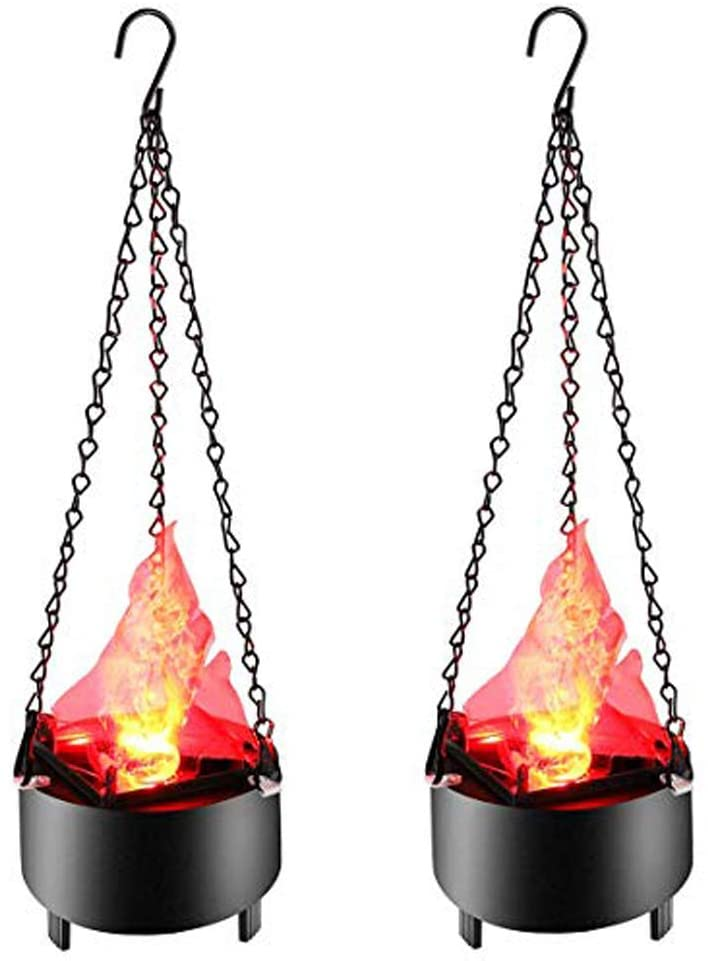 Hanging Flame Light Electronic Brazier Lamp Artificial Fake Fire Simulation Flame Effect Decor Lighting for Halloween Christmas Party Bar Stage (2 Pack)