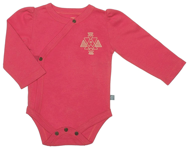 Finn + Emma Organic Cotton Long Sleeve Bodysuit for Baby Boy or Girl – Rose Red, 12-18 Months